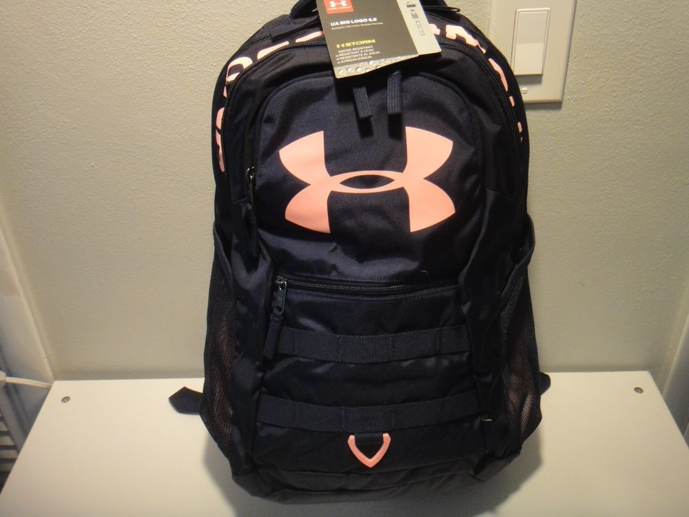 1ae963f614 Under Armour unisex Big Logo 5.0 BackPack Strom Water Resistant Color Navy  Coral  Underarmour  Backpack