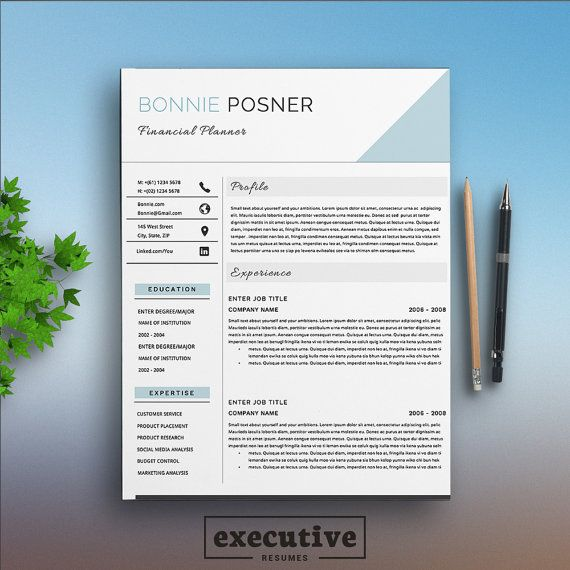 Professional 2 Page Resume Template / CV Cover Letters A4  US