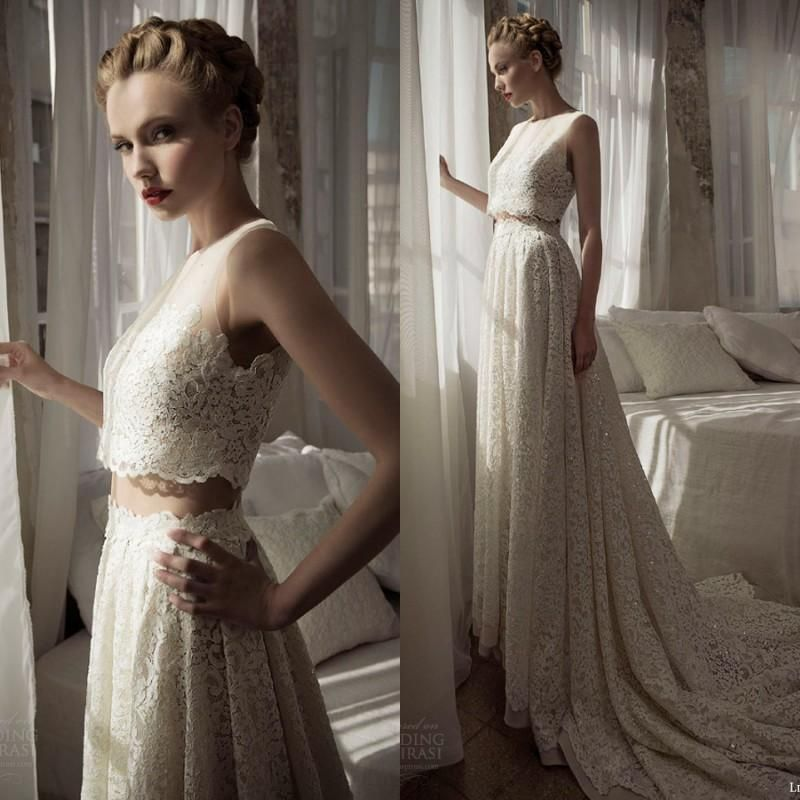 Cheap 2016 Hot Two Pieces Wedding Dresses Lihi Hod A Line Floor ...