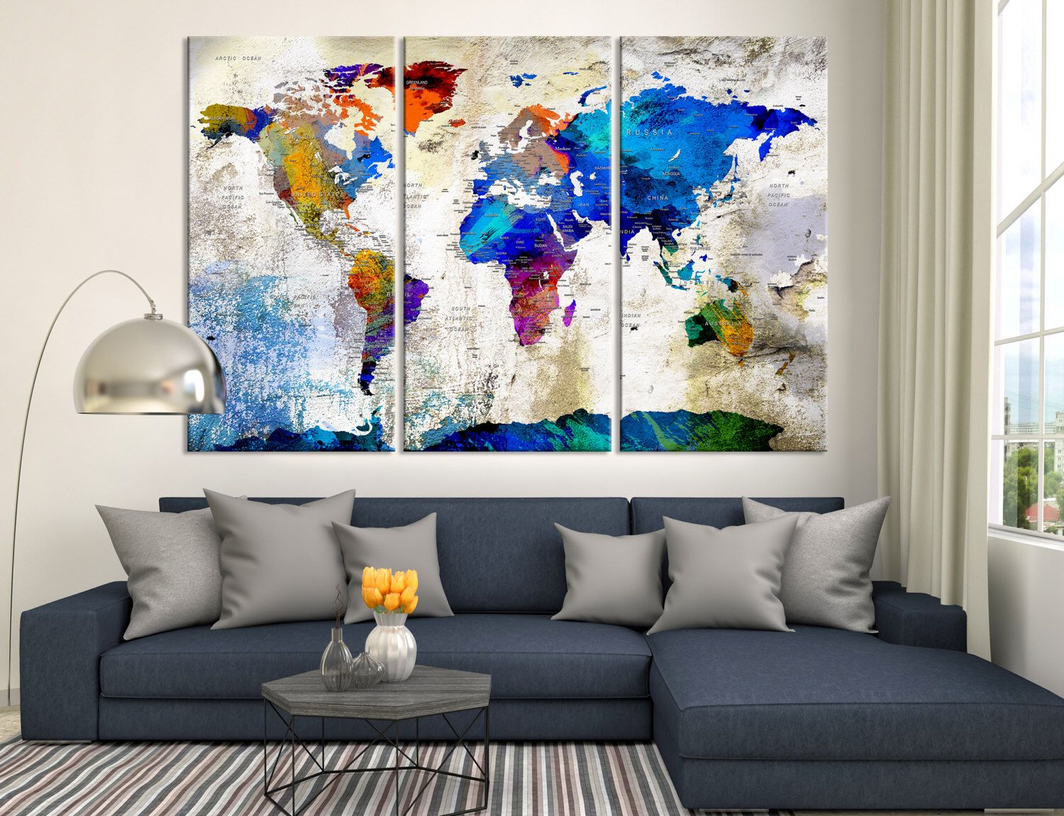 world map push pin canvas print triptych vintage wall art watercolor world map canvas print