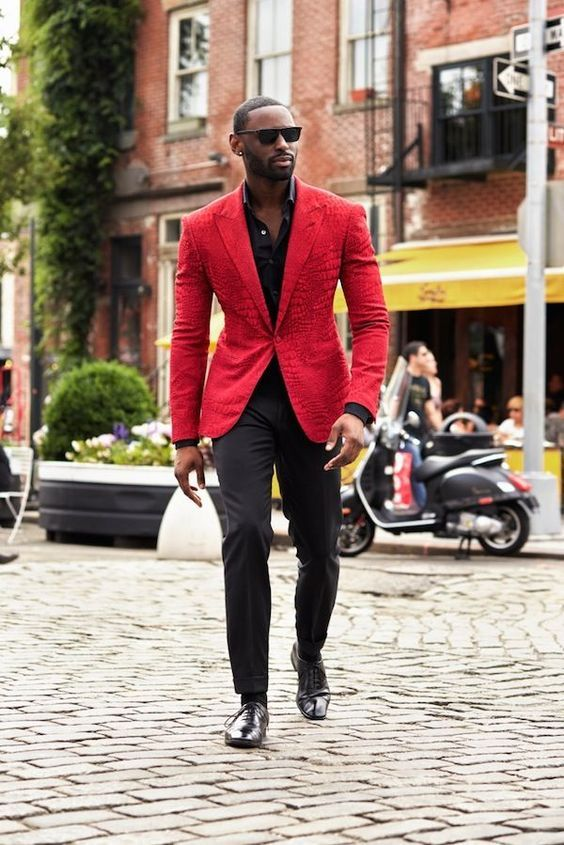 Men's Red Blazer, Black Long Sleeve Shirt, Black Dress Pants, Black Leather Oxford  Shoes