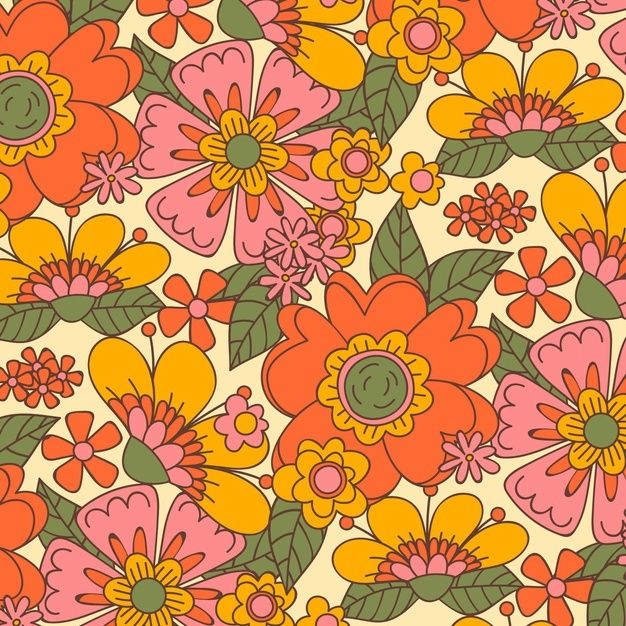 Download Hand Drawn Groovy Floral Pattern for free