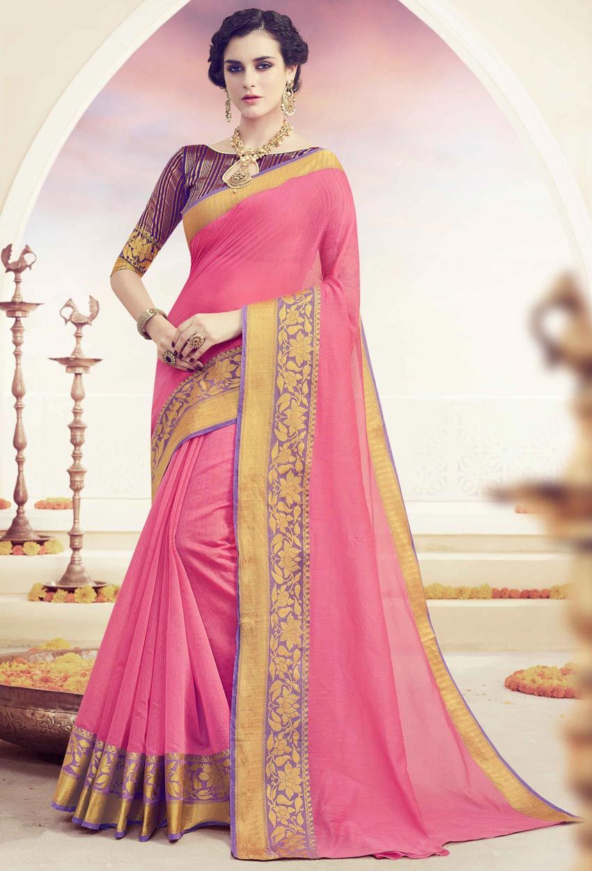 0ddd1565b Pink Spun Polyester Cotton Traditional Saree  cotton  cottonsaree   cottonsari  sareeonline  onlinesari  dress  onlineindiandress  sale nikvik   freeshipping ...