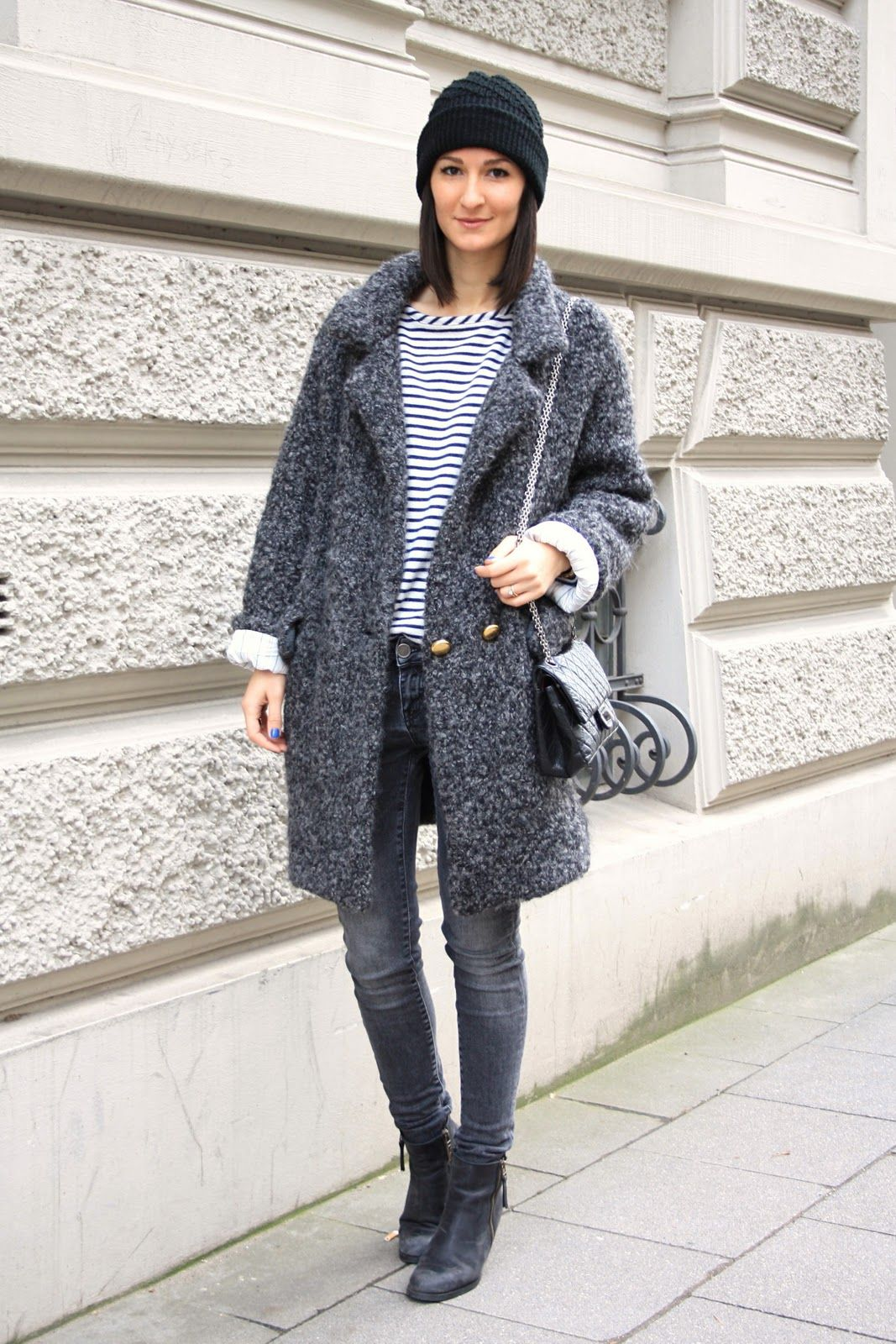 Oversize Striped Sweater Zara Dark Grey Skinny Jeans Zara Oversize Wool Coat Marc By Marc