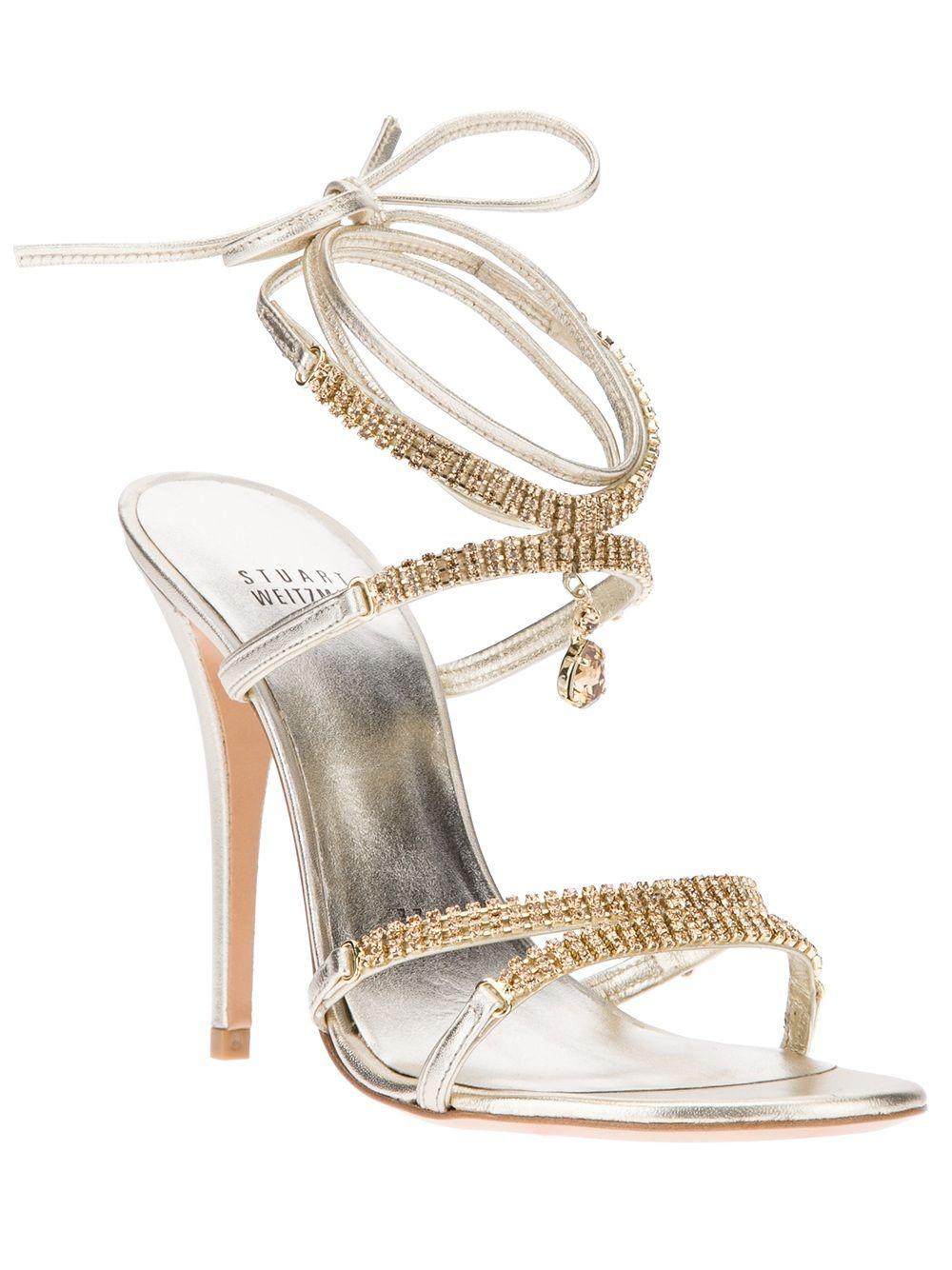 Stuart Weitzman Crystal Heeled Strappy Sandal Farfetch Com Crystal Heels Heels Jeweled Shoes