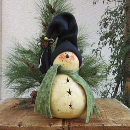 Christmas Snowman Gourd Winter Frosty Natural by pinchmeboutique