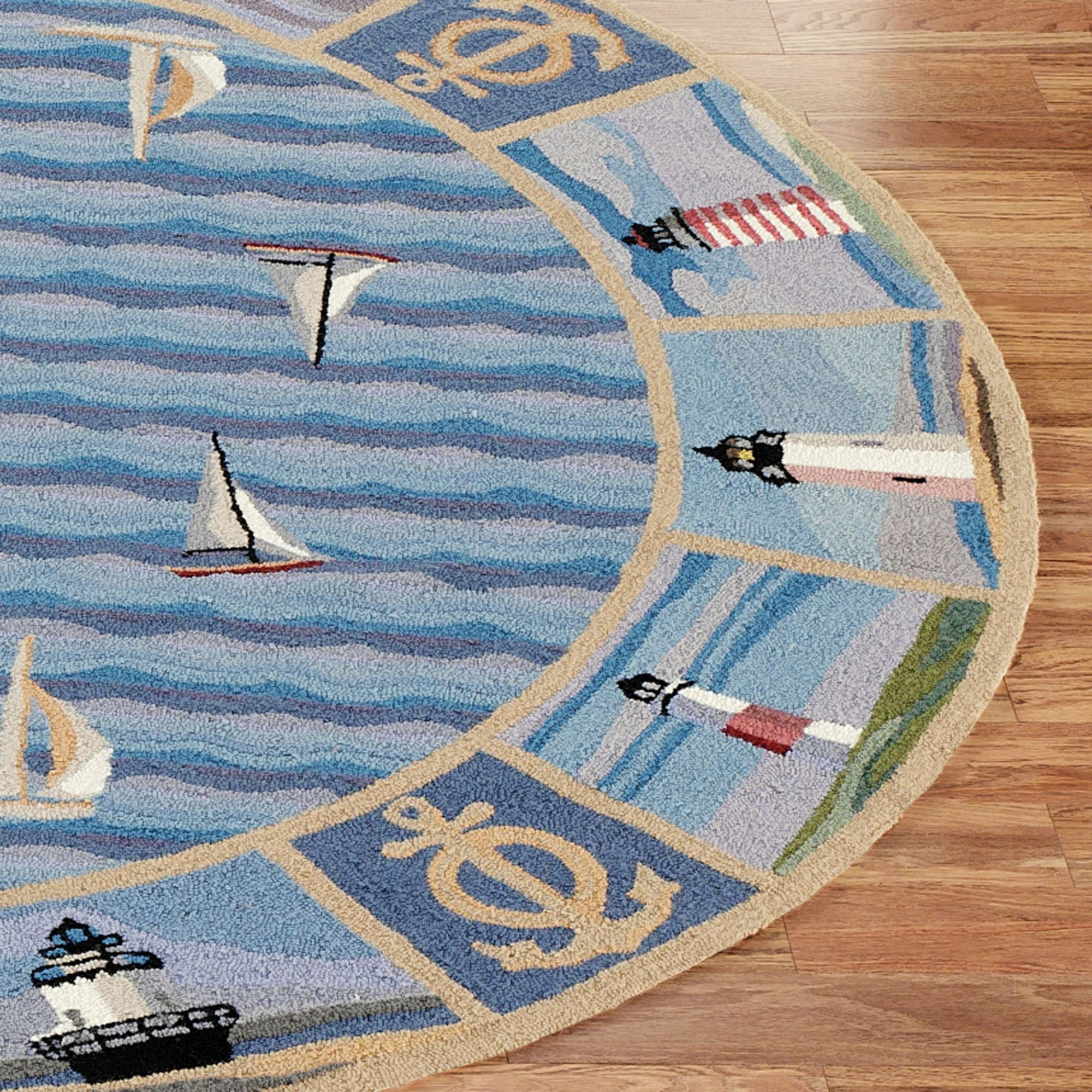 New Colonial Lighthouse Oval Rug Blue 26 X 46 Oval Area Rugs Rugs Oval Rugs