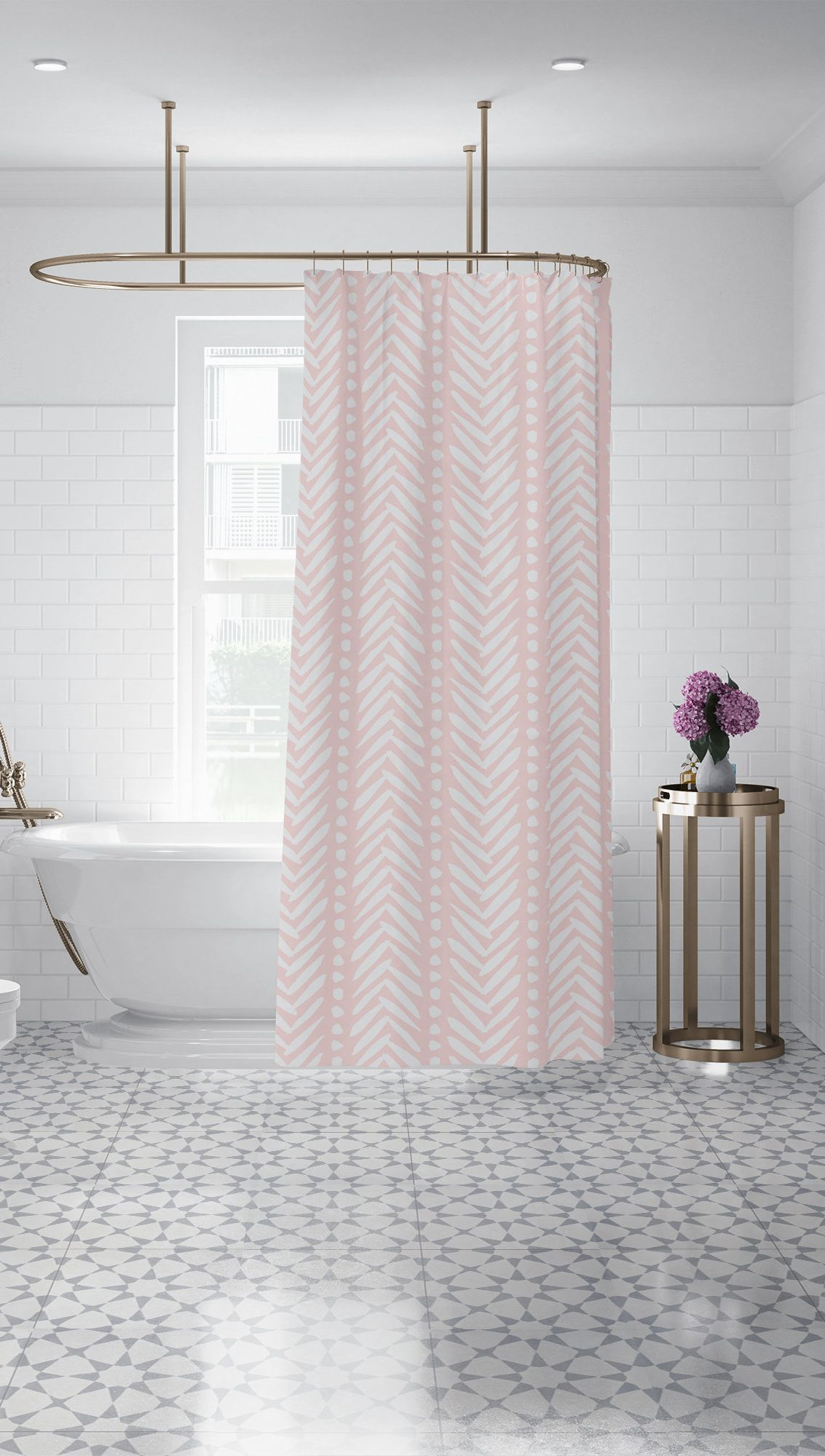 Light Rose Pink Herringbone Shower Curtain Blush Bohemian Fabric