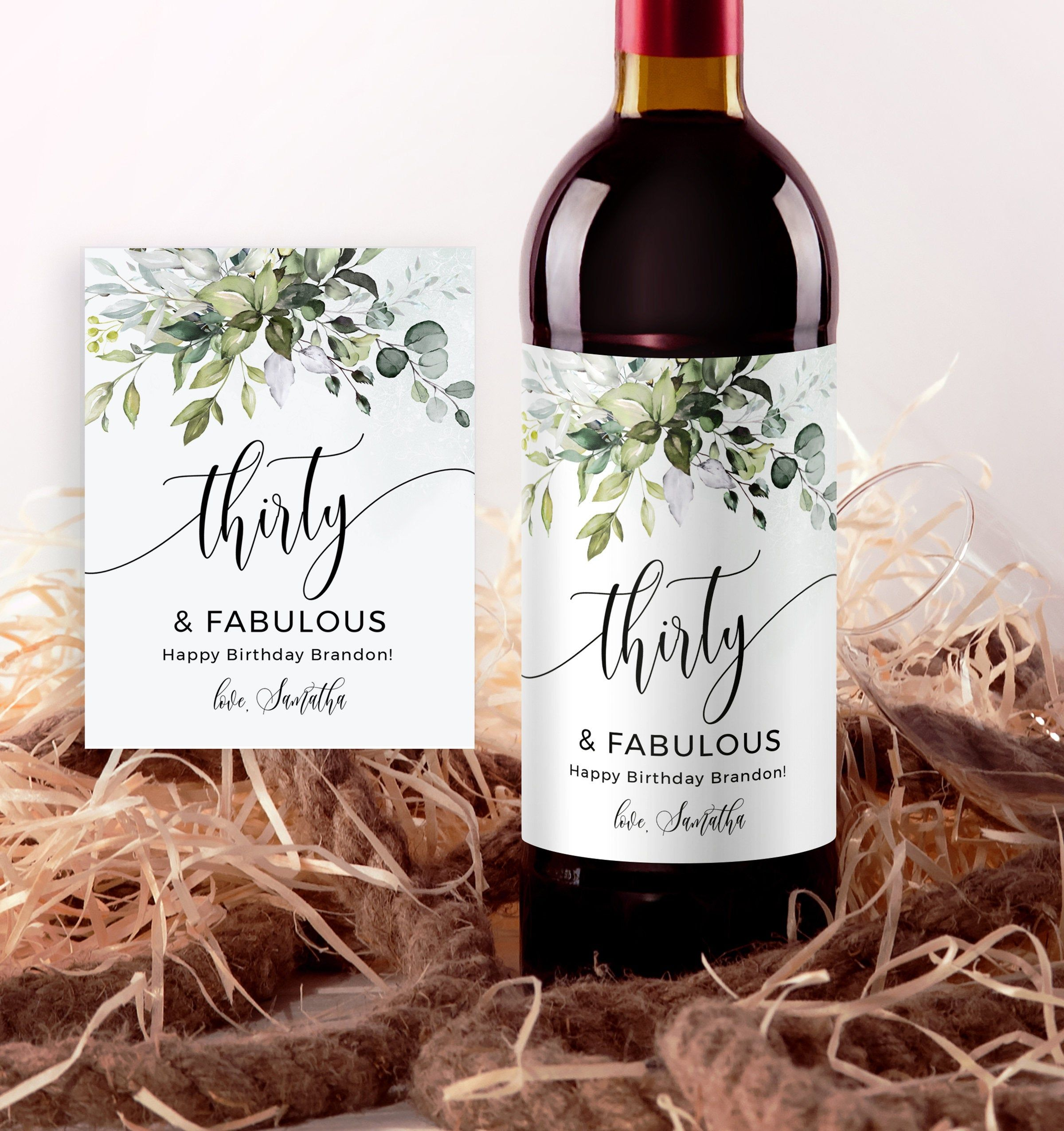 Wine Label Birthday Wine Labels Wine Bottle Label Template Etsy In 2021 Birthday Wine Label Wine Bottle Label Template Birthday Wine