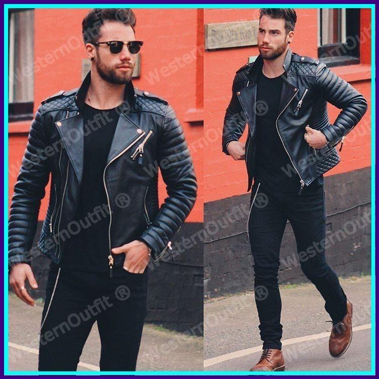 Ayesha Mens Leather Jackets Motorcycle Bomber Biker Genuine Lambskin 19