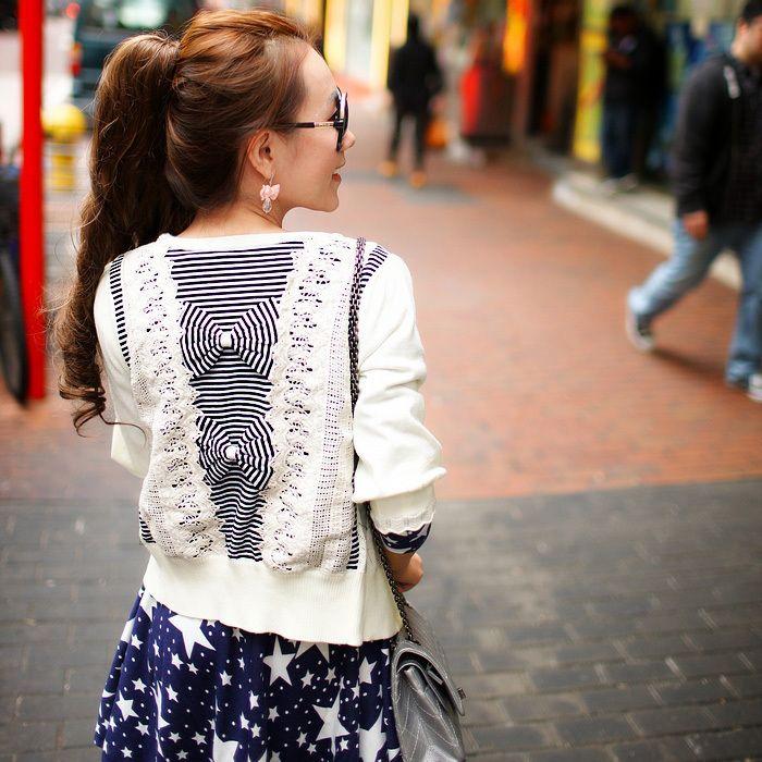 Angelcitiz cutout lace slim three quarter sleeve cardigan sweater female thin yh7249 free shipping