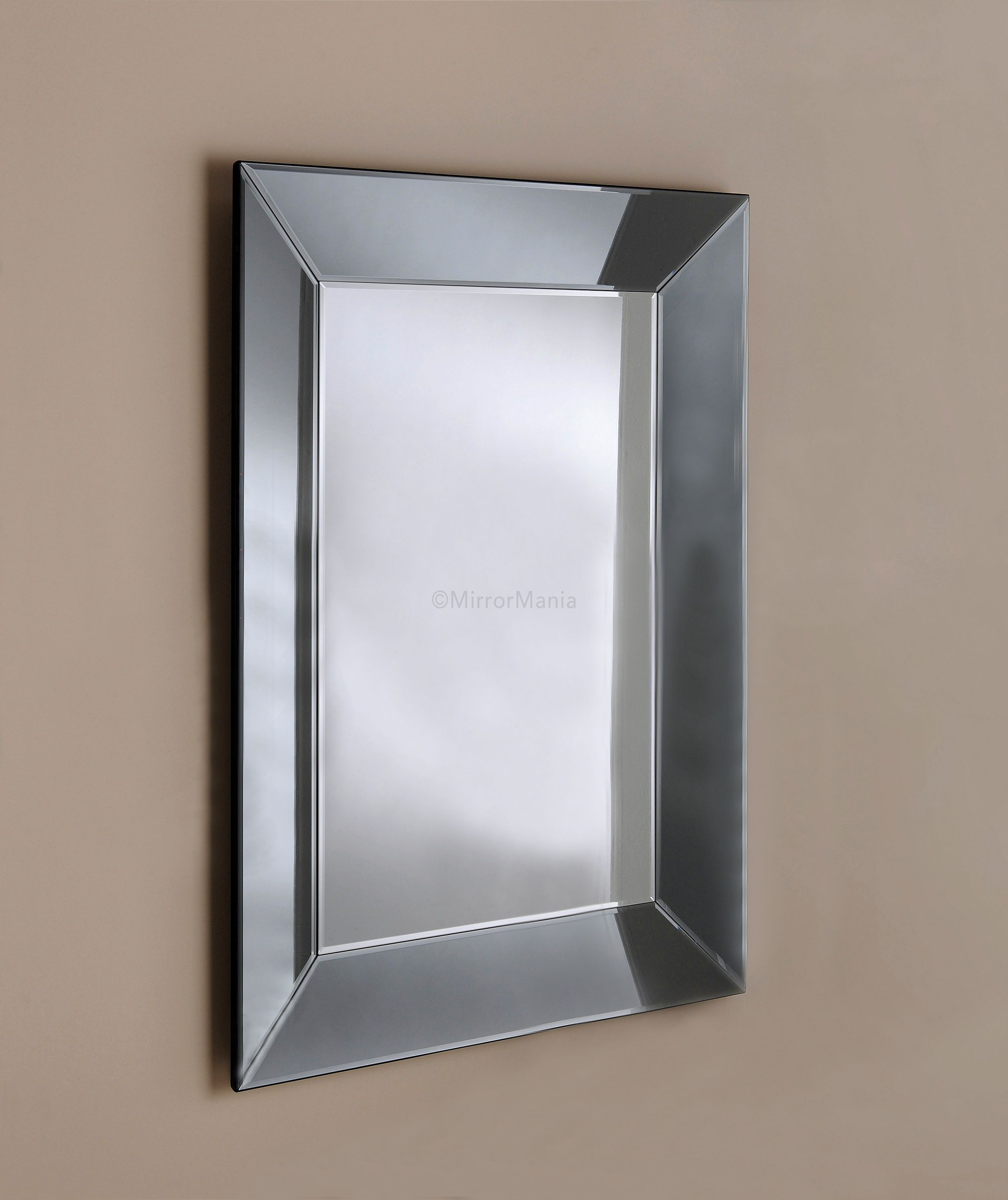 Zeus Handmade Modern Bevelled Tray Mirror with Grey Tinted Mirror ...