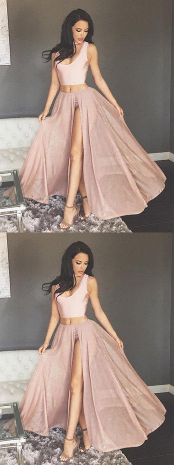 two piece prom dress modest beautiful cheap long prom dress