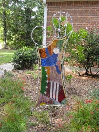 Abstrace Stained Glass Garden Panel