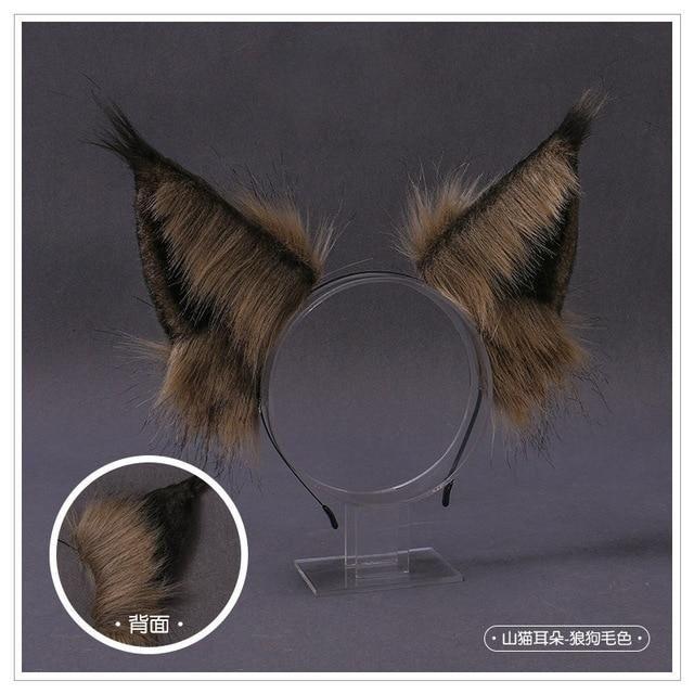 Photo of New Kawaii Plush Cat Ears Headband Realistic Furry Fluffy Animal Wolf Hair Hoop Lolita Anime Decor Cosplay Costume Accessories – 2