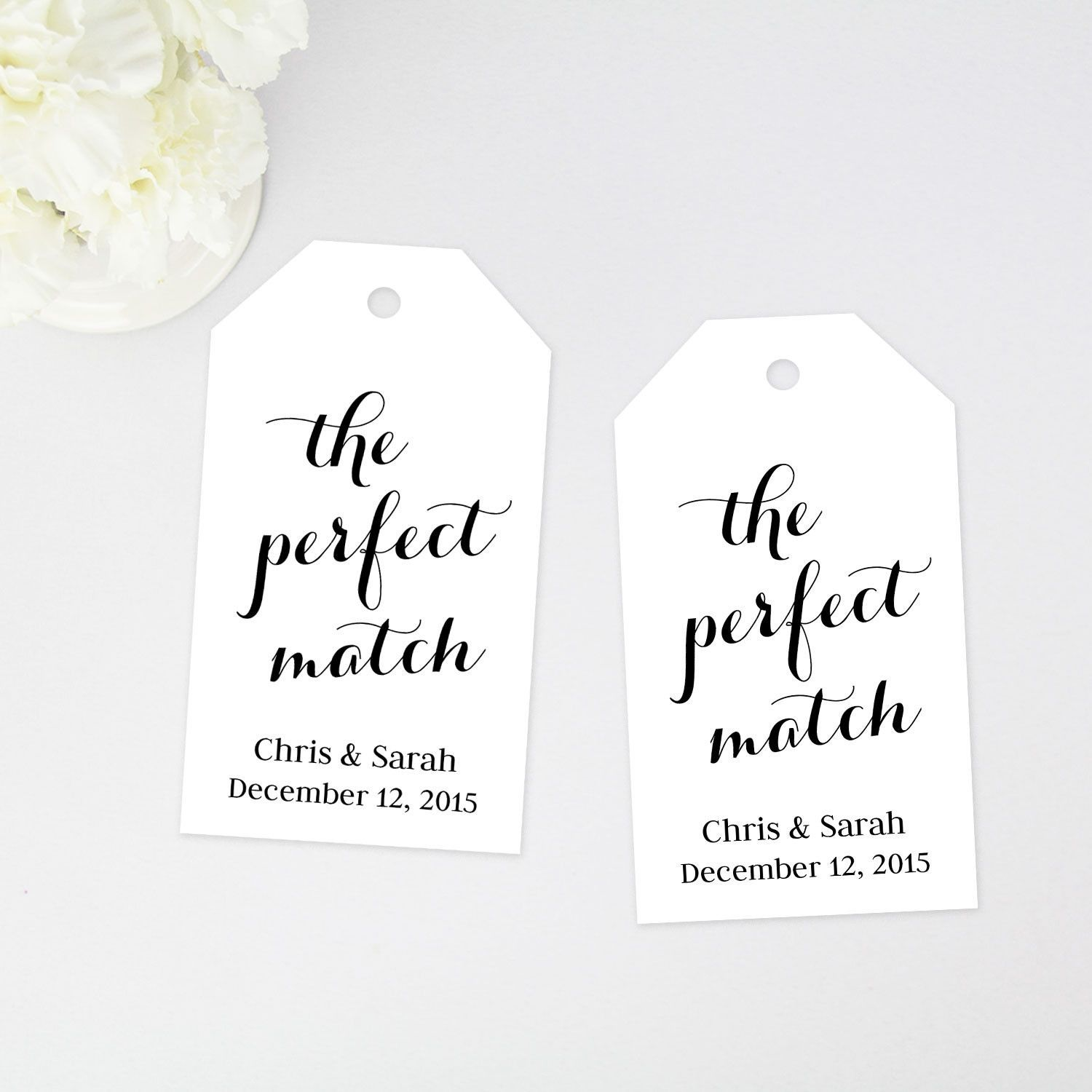 the perfect match favor tag wedding favor tags wedding favor