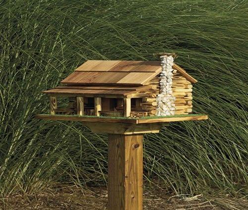 Amish Log Cabin Bird Feeder With Rock Chimney Wooden Bird Houses Bird House Feeder Wooden