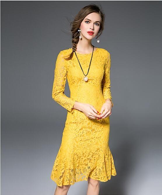 British style fashion 2017 women spring autumn fashion yellow long sexy bodycon work lace party dress 8484 plus size