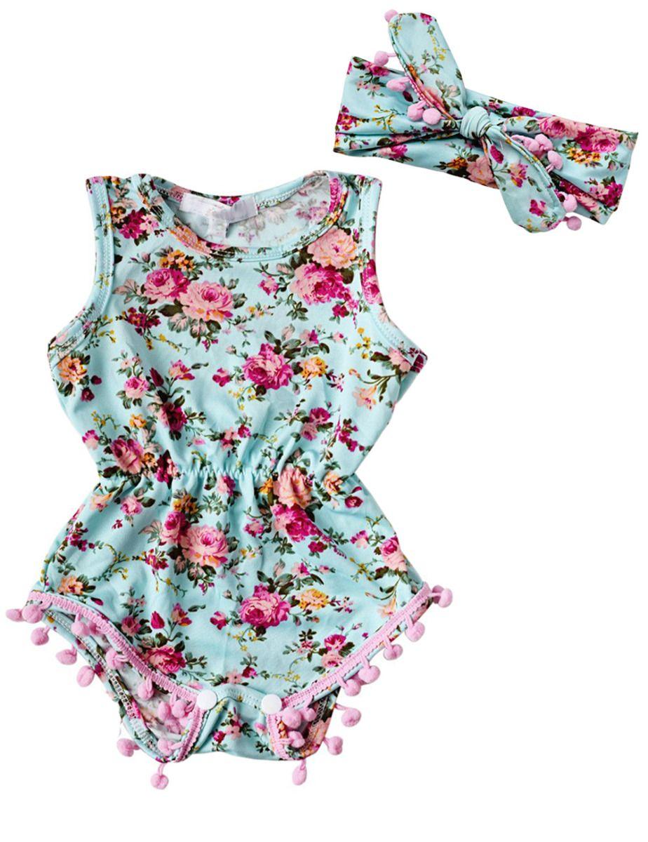 a8f2d2546155 Nieuwe Baby Meisje Romper Zomer Romper Pasgeboren Baby Baby Meisjes Bloemen Pom  Pom Romper Jumpsuit Sunsuit Outfits Kleding Set 6-24 M