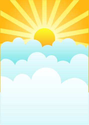 Sun rising above clouds vector drawing | Public domain vectors