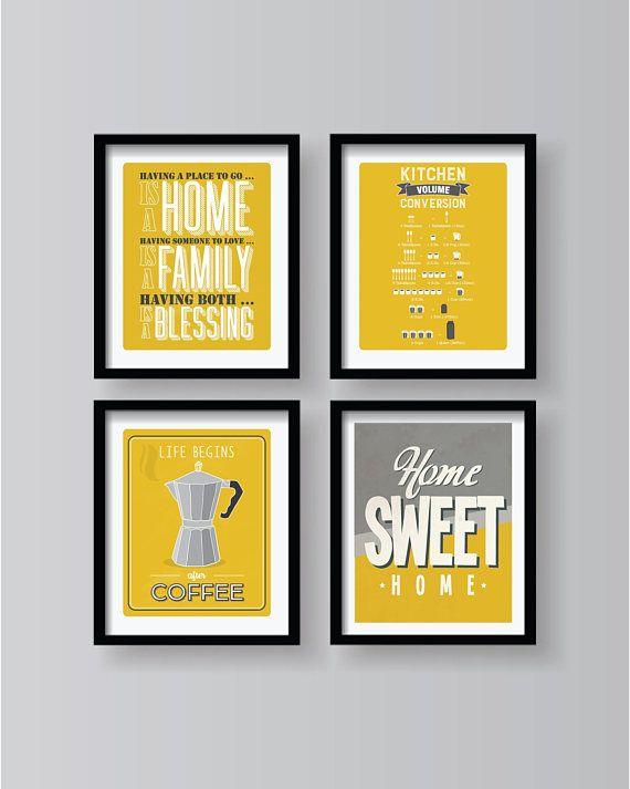Set Of 4 Mustard Yellow Gray White Poster Lovely Kitchen Wall Art Walls