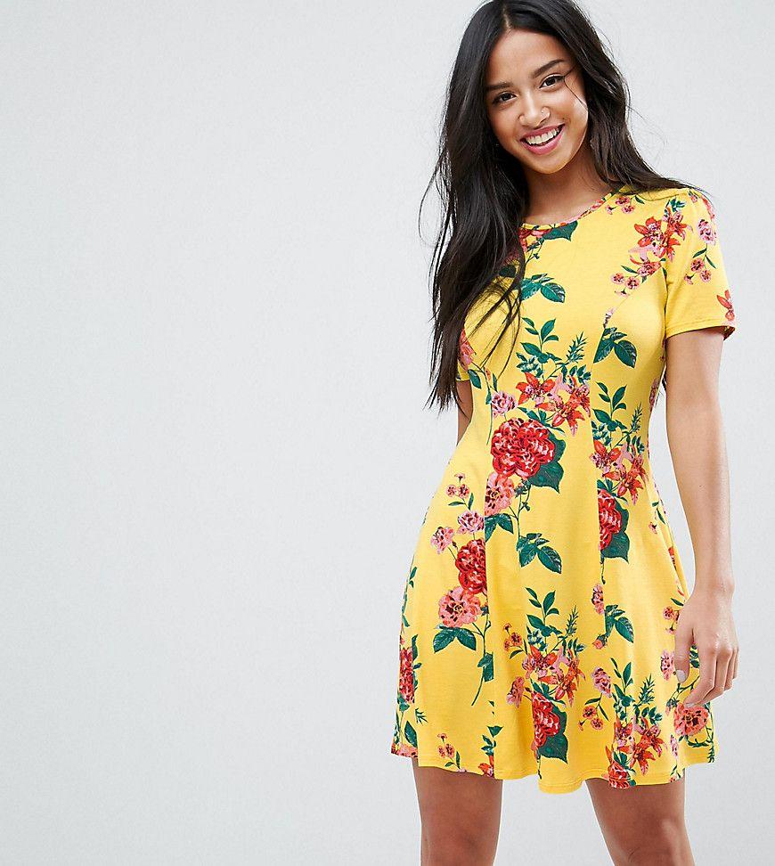 c14ca97540a ASOS PETITE Mini Tea Dress In Yellow Floral Print - Yellow ...