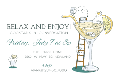 Happy Hour Cocktail Party Invitation Template Free Party