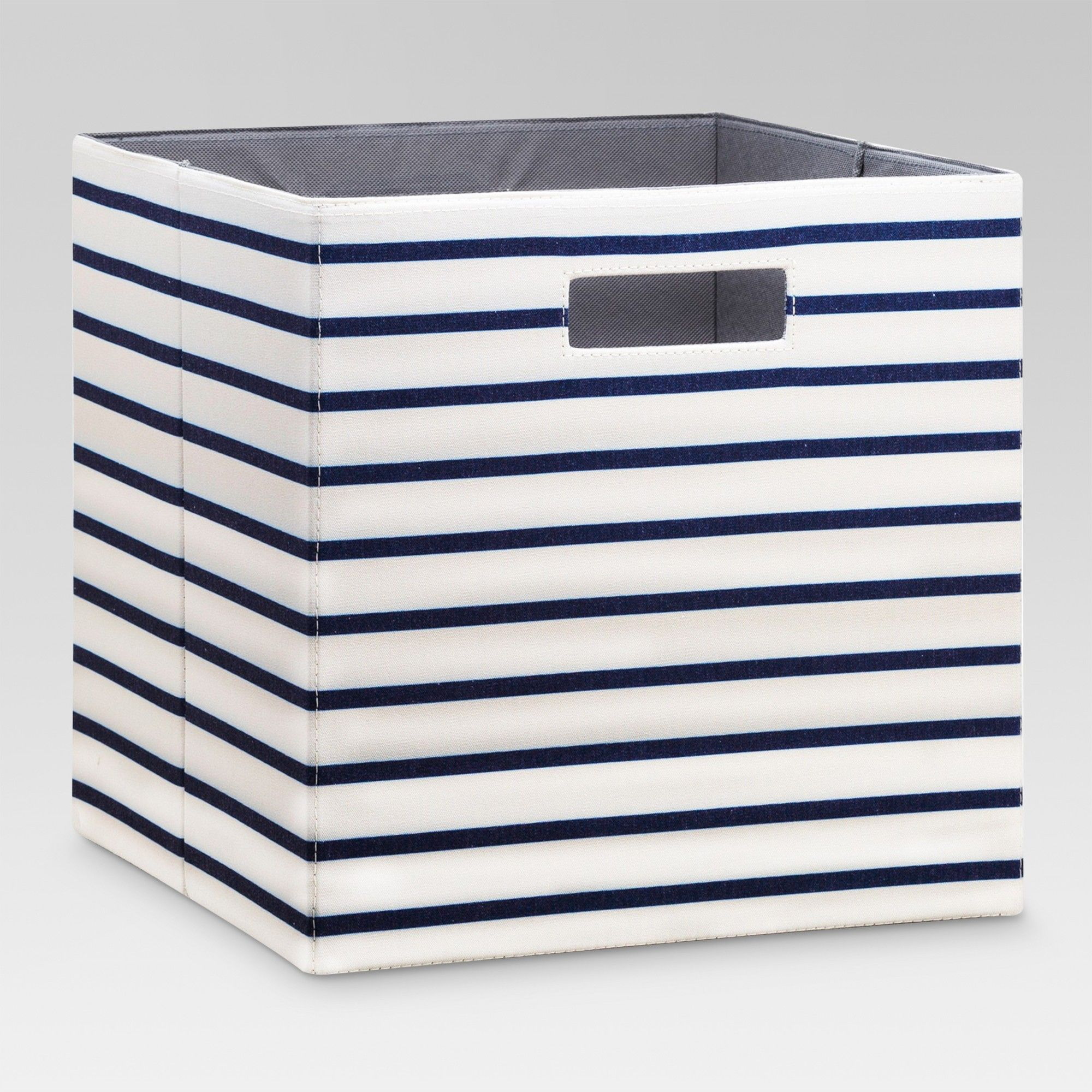 13 Fabric Cube Striped Storage Bin White Navy Threshold Cube Storage Fabric Storage Bins Fabric Storage Cubes