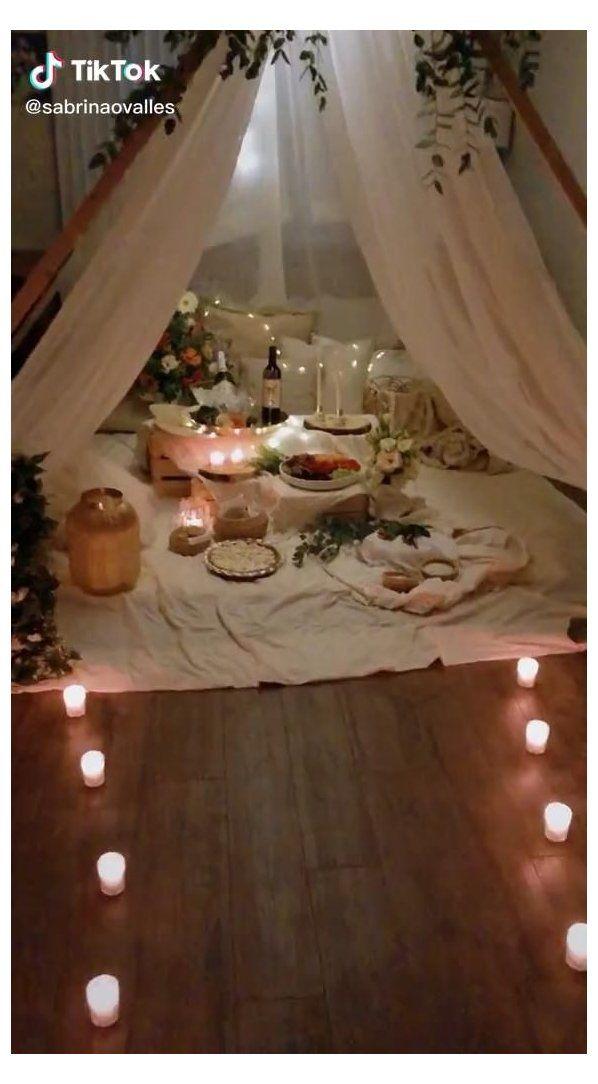 Living Room Picnic Diy Romantic Tent Date Nights Diyromantictentdatenights Pi Romantic Room Surprise Romantic Room Decoration Romantic Dinner Decoration