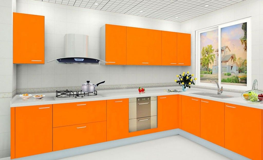 Contemporary White And Orange Kitchen Design Collections With Modern L Shaped Base Cabin Kitchen Cabinets Color Combination Kitchen Design Orange Kitchen Decor