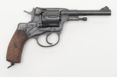 Russian Nagant M1895 revolver Designed by Léon Nagant and manufactured by the Tula Arsenal starting in 1898, imported by Century International Arms in Georgia, Vermont - serial number 189509351. 7,62x38mmR seven-round scoop-grooved cylinder, double action, loading gate with pivoting ejector rod.