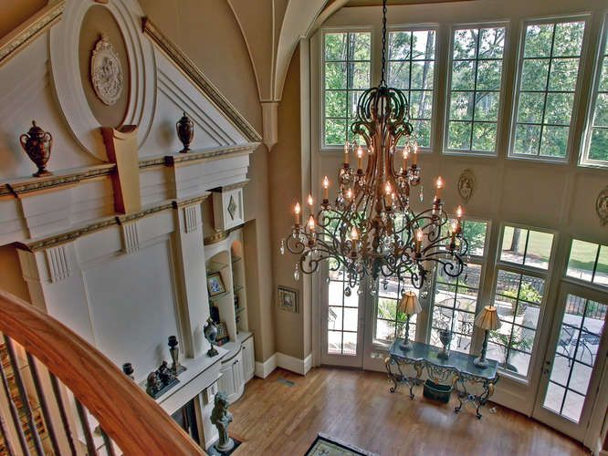 Two Story Great Room French Doors Windows Two Story