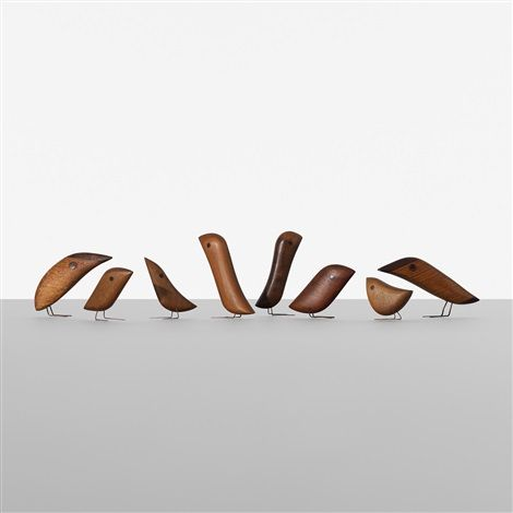 Collection of 8 teak birds by Jacob Hermann