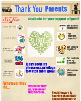 Parent Thank You Letter  Unique Poster Word Doc And Parents