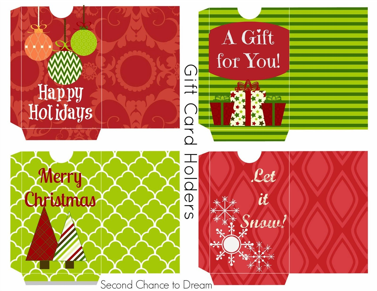 Second Chance To Dream Free Printable Gift Tags Gift Card Holders Gift Card Holder Printable Gift Cards Christmas Gift Card Holders
