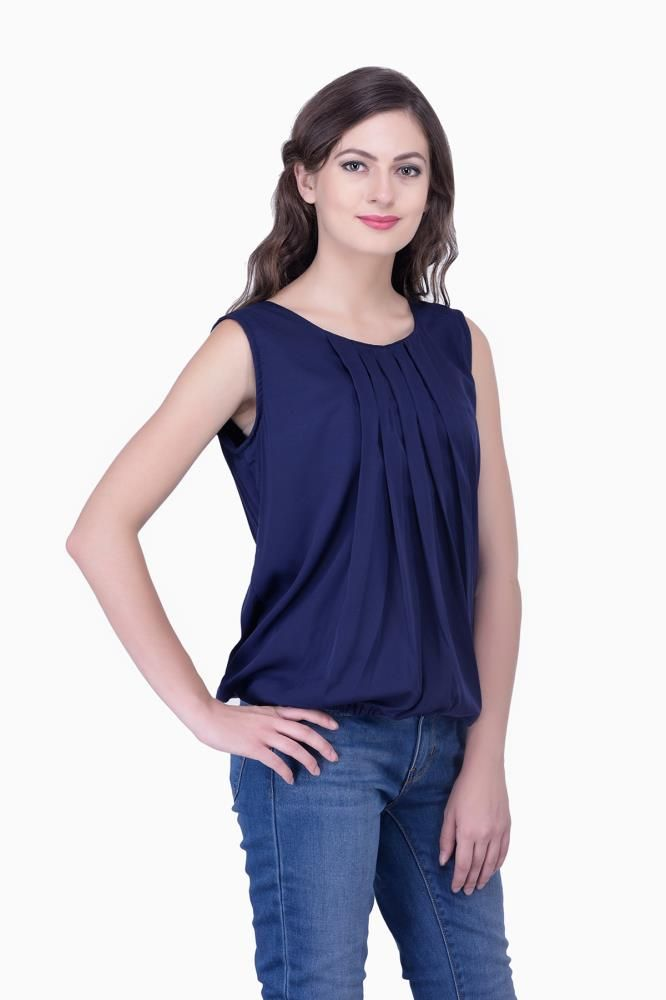 Navy Blue Solid Women Party Wear Office Casual Tops Tunics For Online India