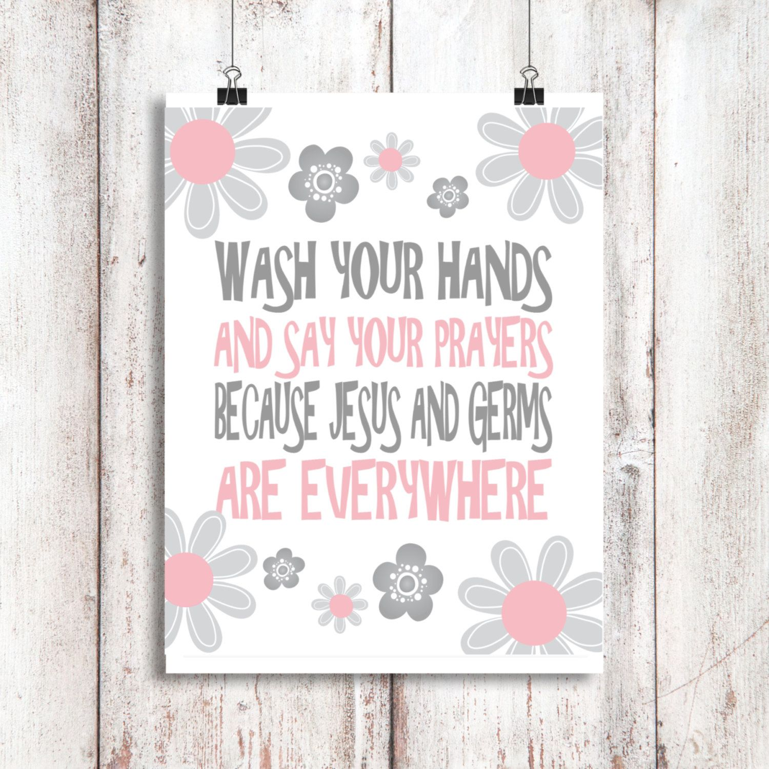 Christian bathroom decor - Wash Your Hands And Say Your Prayers Bathroom Art Bathroom Decor Pink Gray Girls