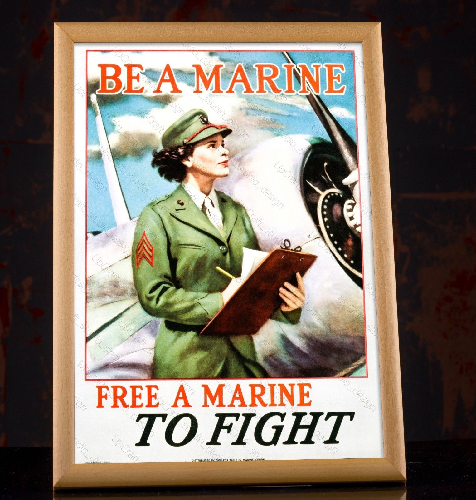 """US Marines /""""First to Fight in France/"""" WW1 Marines Recruting Poster 20x28"""
