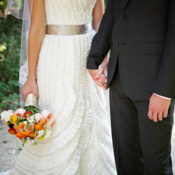 DIY bouquets, lawn games & s'mores at this rustic chic wedding. Oh yeah and one AH-MAZING dress! (photo by Simply Jessie)