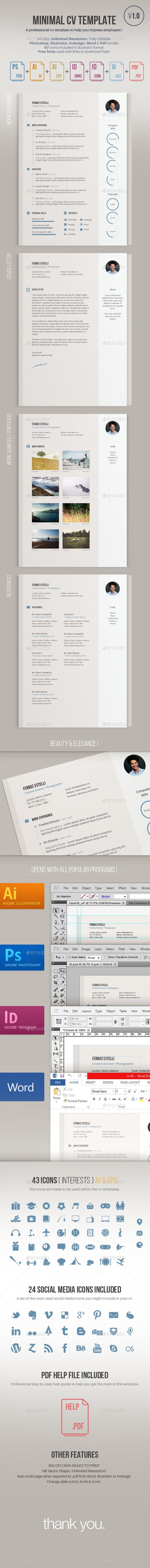 A minimal modern organized cv template for a professional impression by employers.