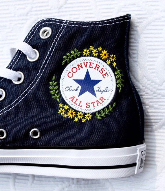 Great Converse All Star Flower Embroidered Canvas