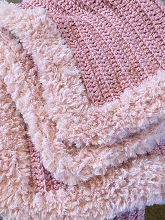 Photo of Cozy Throw with Faux Fur Trim Crochet Pattern, Crochet Blanket, Fur Trim Blanket, Fur Trim Throw