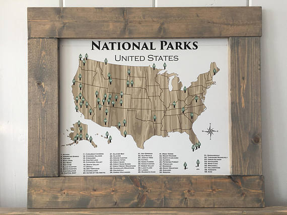 National Park Poster National Parks Poster Adventure Map
