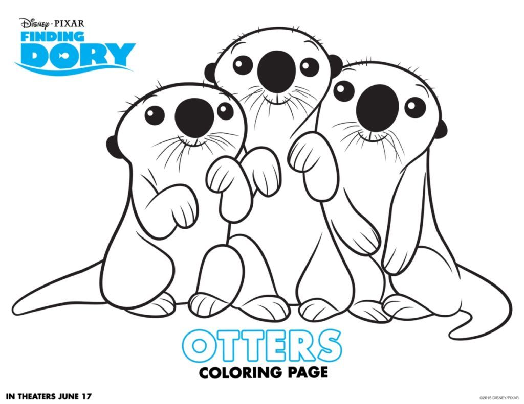 Free coloring pages for june - Printables Cartoon Finding Dory Otters Coloring Page For Kids Free Cartoon Finding Dory Otters Coloring Page Printables For Kids