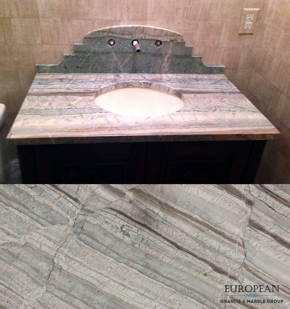 This Bathroom Vanity Features Corteccia Quartzite from Brazil