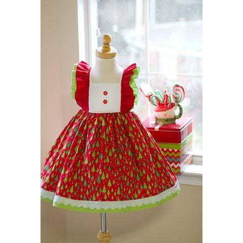 RTS Sugarplum Santa Dress 2T - 2T Christmas tree dress