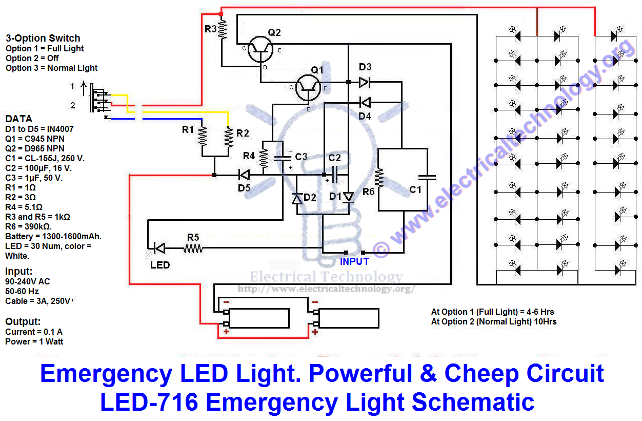 emergency led light powerful cheep circuit led 716 emergency light rh pinterest com led light bulb schematic led light schematic