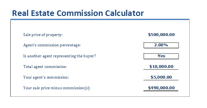 8 Real Estate Commission Calculator Templates Templates Word