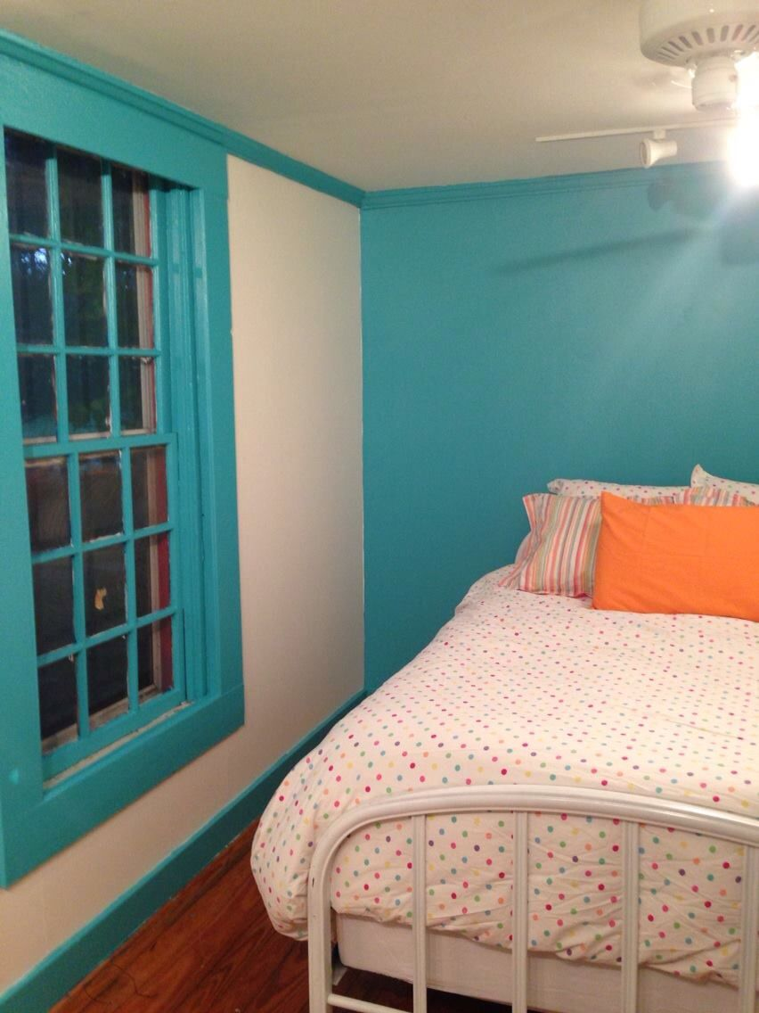 fabulous turquoise bedroom paint colors | Turquoise Tint on one wall, windows, and woodwork, Dove ...