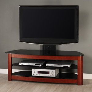 Black Glass And Metal Tv Stand With Removable Mount And Cherry